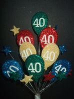 Bright balloons 40th birthday cake topper decoration - free postage